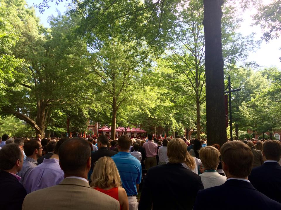 Elon University's 2015 commencement at its annual location, Under the Oaks.