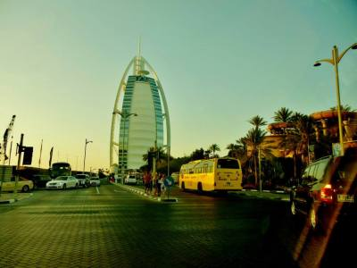 The Burj Al Arab, located on Jumeirah Beach in Dubai, is the world's only 7-star hotel.