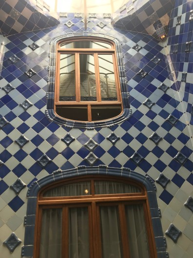 The various shades of blue tile running through the house.